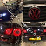Volkswagen passat TDI wrappen logo rood en koplampen smoke